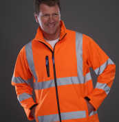 (HVK09) Yoko Hi-Vis Softshell Jacket Hi Vis Orange/Navy Size 3XL